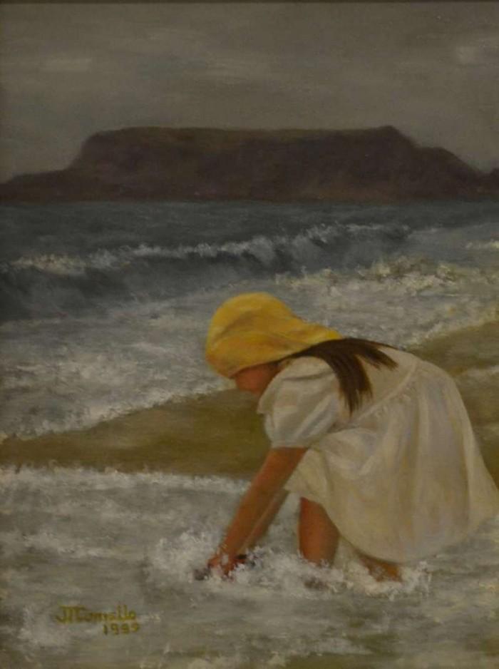 1997, Meisje aan zee, 30x40, olieverf, J.Comello