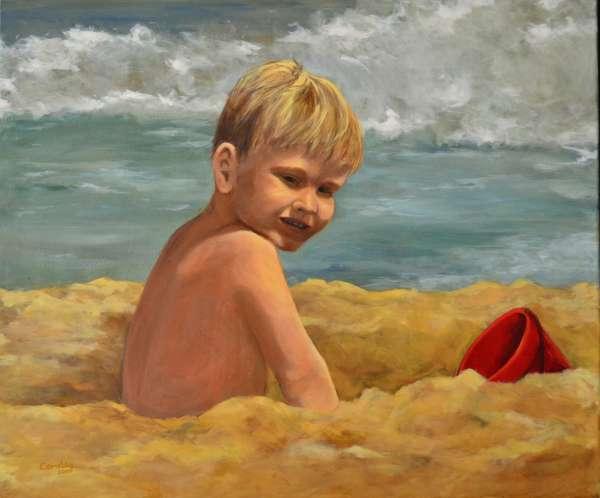 2004, Caspar op het strand, 70x80, olieverf, J. Comello