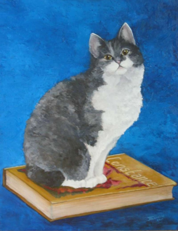 2004, Fientje voor Constance, 40x50, olieverf, kattenportret, J. Comello