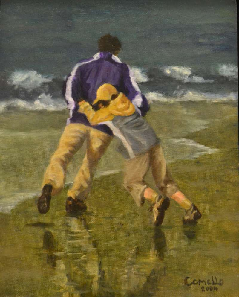 2004, Vader en zoon op 't strand, 24x30, olieverf, J.Comello