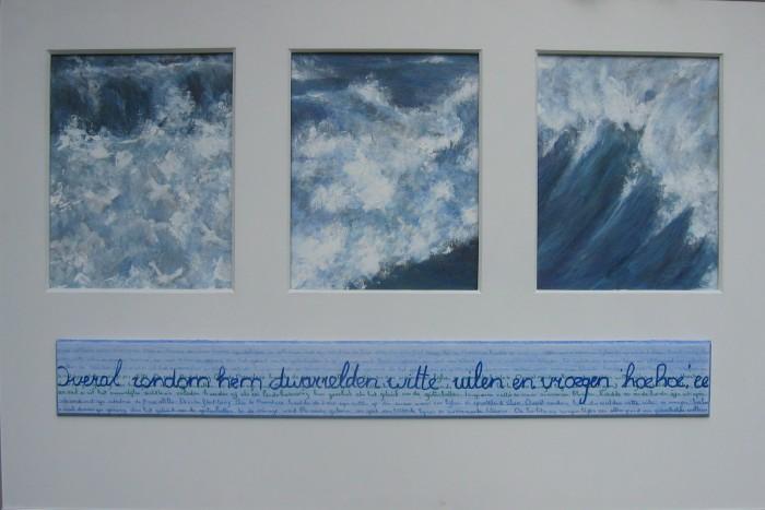 2005, Zee-uilen,2005, Zee-uilen,, collage van acrylverf en houtwerk.