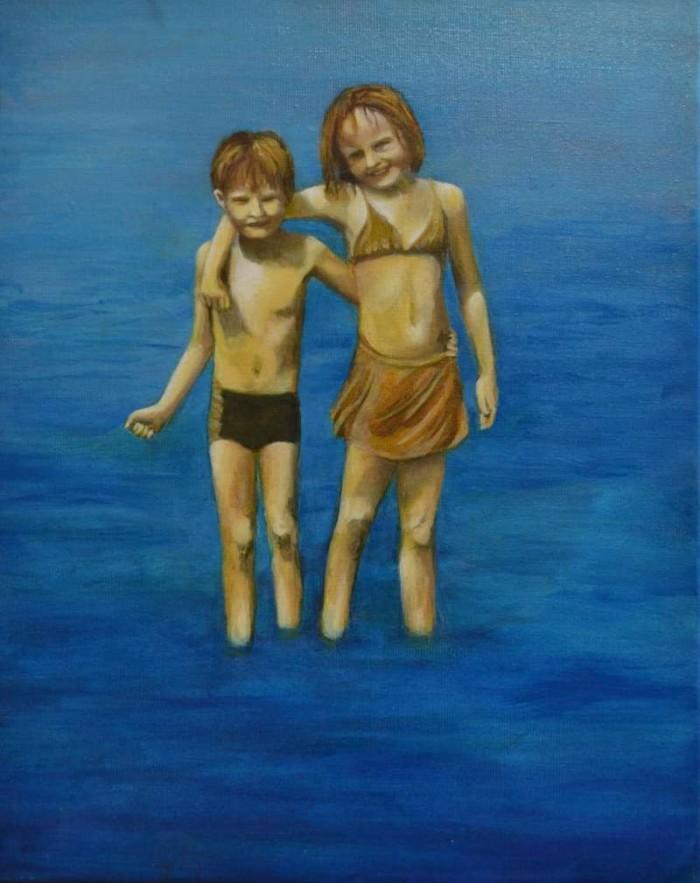 2008, Two in the sea, 40x50, olieverf, J.Comello