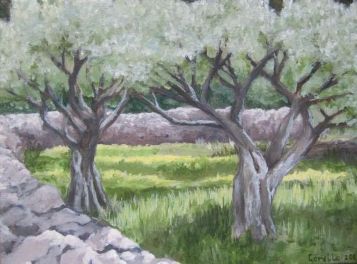 2010, Olijfboom Geel 24x30, Olieverf op waterbasis