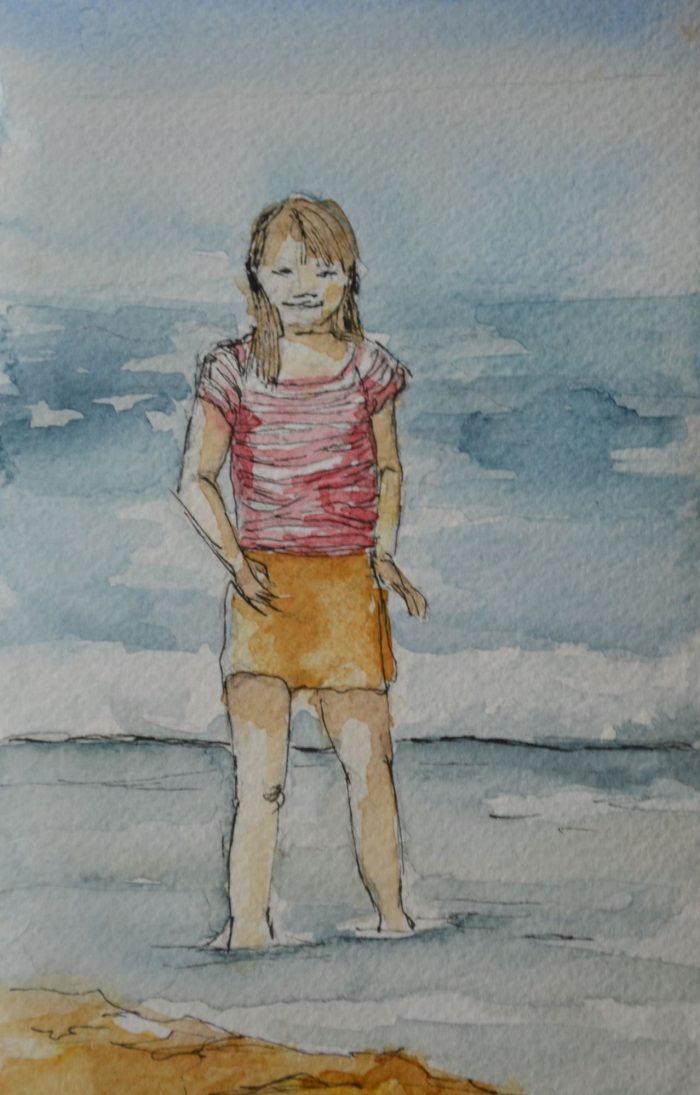 meisje aan zee