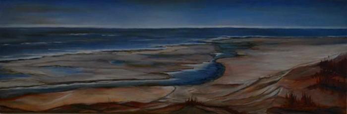 2013, Zeegezicht I 40x120, Olieverf op waterbasis, door J.Comello