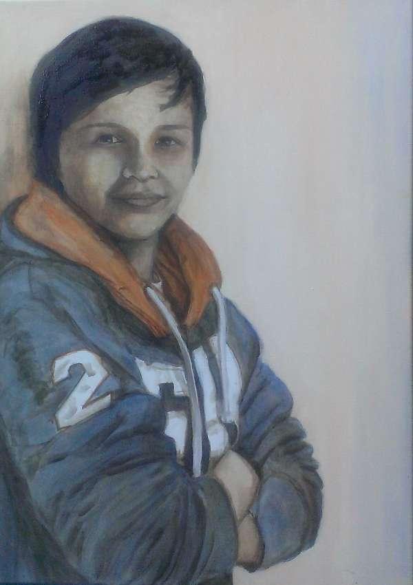 2014, Bas Lemmens, 50x70, acrylverf, portretopdracht door J. Comello